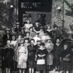 First Ladies' Aid group on the steps of the Magyar Presbyterian Church.