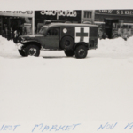 A Red Cross vehicle on West Market Street following the blizzard of 1950.