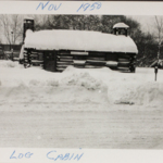 085	The log cabin on Mahoning Avenue across from Courthouse Square following the blizzard of 1950.