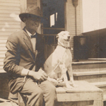 Leon Quincy Packard with his dog.