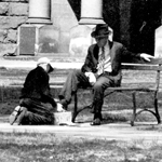 Shoe shine boy in Courthouse Park.