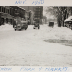 The corner of Park Avenue and Market Street following the blizzard of 1950.