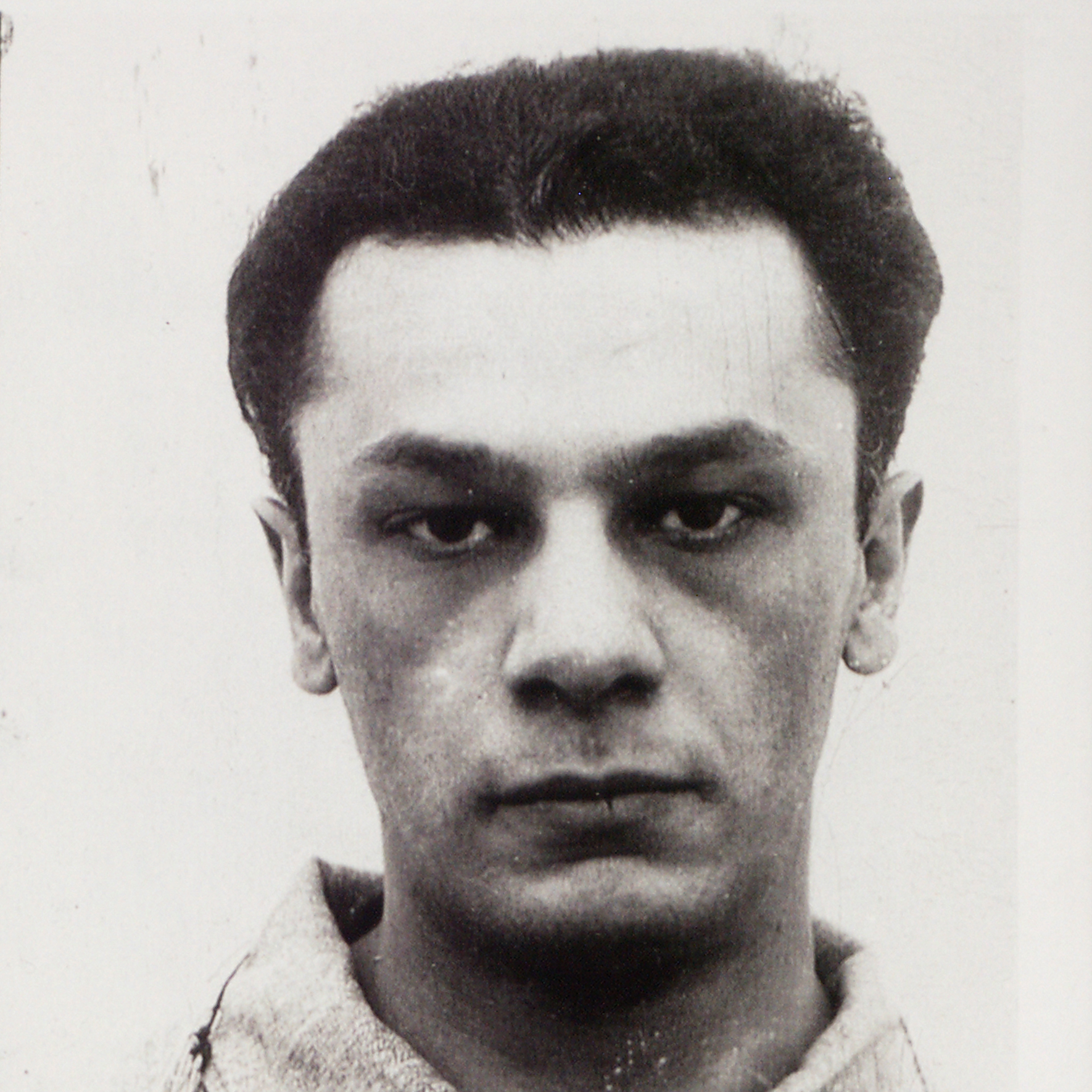 Suspect Charles Monazym's mug shot in Buffalo, New York, May 7, 1942.  He was arrested with Thomas Viola.