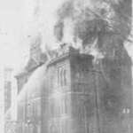 City hall in flames.