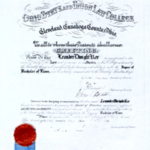 Leander Dwight Kee's Bachelor of Laws diploma.