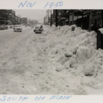Looking South on Main Street following the blizzard of 1950.