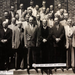 Deacons and elders, Julius Nagy, Reverend Papp and Joe Benedek on the steps of the  Magyar Presbyterian Church in the 1950's.