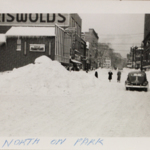 Looking North from the corner of Park Avenue and E Market Street following the blizzard of 1950.