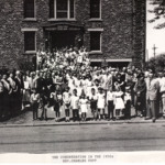 The congregation of the Magyar Presbyterian Church in the 1950's with reverend Charles Papp.
