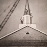 Steeple of the Magyar Presbyterian Church being raised.