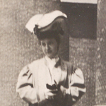 Photograph of unidentified woman at the Public Library taken by the Warren Tribune Chronicle.