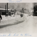 West Market Street hill at the intersection with South Street following the blizzard of 1950.